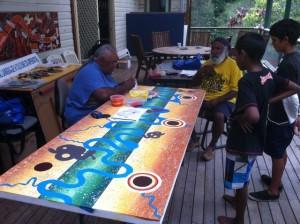 Richard Campbell and Martin Ballangary painting the new doors for Macksville TAFE