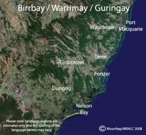 Birrbay/Warrimay/Guringay Language Map