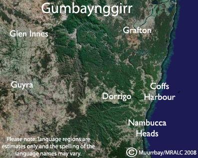 Gumbaynggirr Language Map